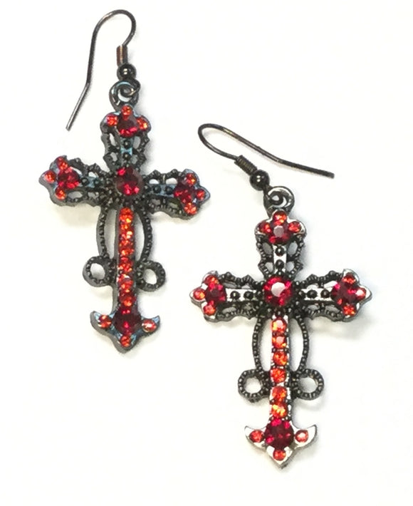 HEMATITE CROSS EARRINGS WITH RED STONES ( 0182 )