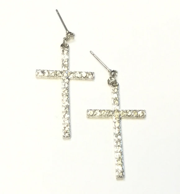 SILVER CROSS EARRINGS WITH CLEAR STONES ( 2360 )