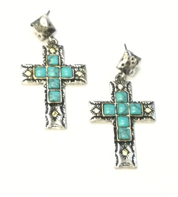 SILVER CROSS EARRINGS WITH TURQUOISE STONES ( 5642 )