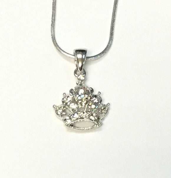 SILVER NECKLACE WITH CROWN CHARM CLEAR STONES ( 7053 )