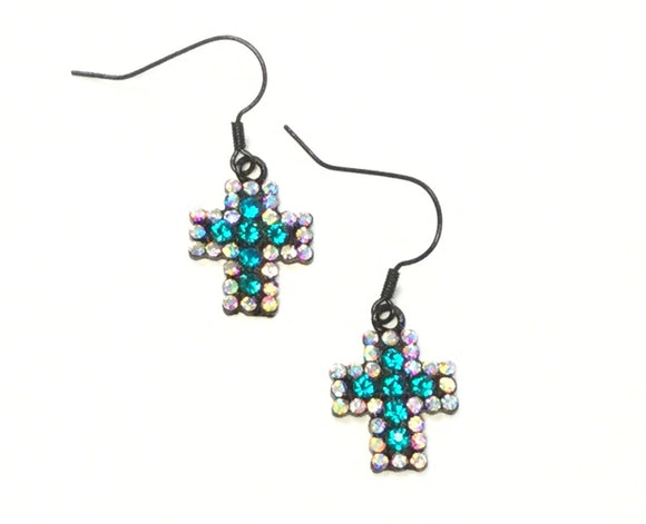 BLACK CROSS EARRINGS WITH TURQUOISE AB STONES ( 2019 )
