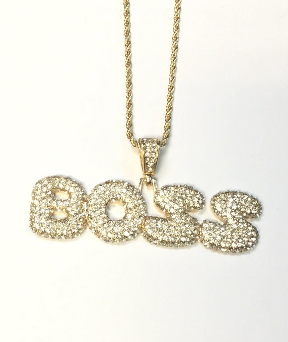 GOLD BRASS NECKLACE PUFFY ' BOSS ' CLEAR STONES ( 1503 )
