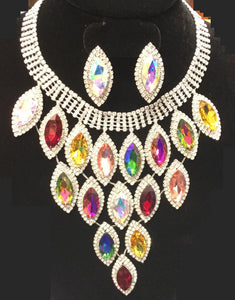 SILVER AND MULTI COLOR Marquise Pave Statement Necklace with Stud Earrings ( 9029 )