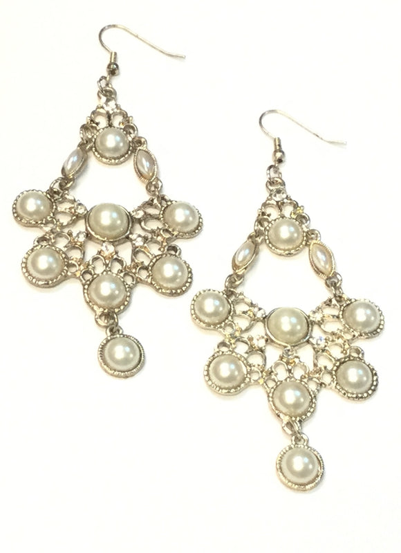 ANTIQUE CHANDELIER EARRINGS PEARLS AND STONES ( 00930 )