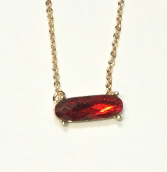 GOLD NECKLACE WITH SMALL RED CZ STONE ( 7566 )