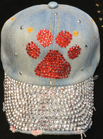 BLUE JEAN HAT WITH RED PAW RHINESTONES ( 0216 )
