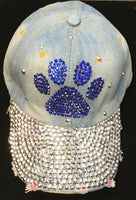 BLUE JEAN HAT WITH BLUE PAW RHINESTONES ( 0216 )