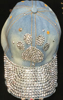 BLUE JEAN HAT WITH SILVER PAW RHINESTONES ( 0216 )
