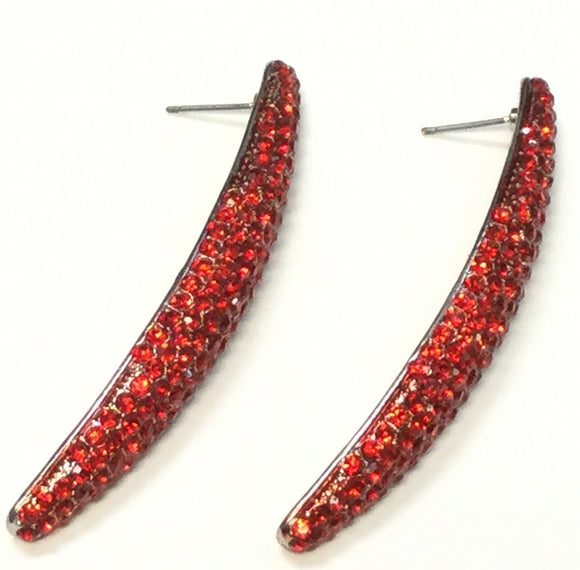 LONG SILVER EARRINGS WITH RED STONES ( 1553 )