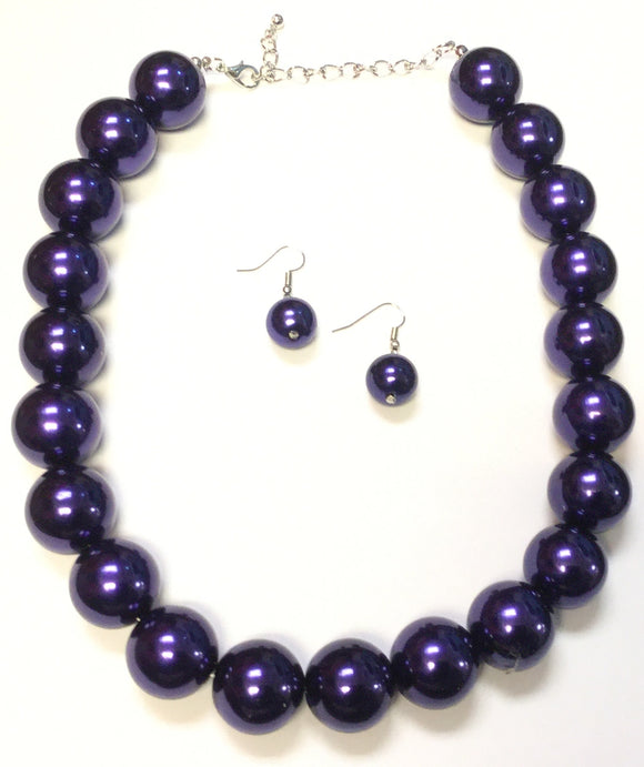 22mm PURPLE Pearl Necklace SET ( 1000 )