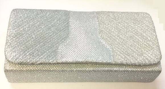 SILVER SHINY PURSE CLUTCH BAG ( 7438 )