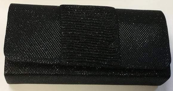 BLACK SHINY PURSE CLUTCH BAG ( 7437 )