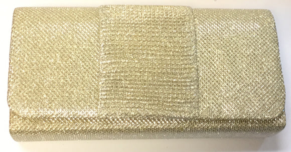 GOLD SHINY PURSE CLUTCH BAG ( 7437 )