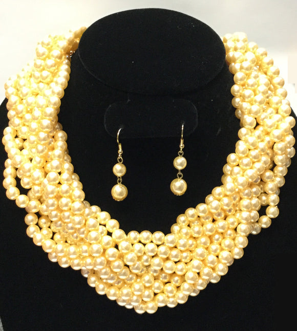 CREAM PEARL NECKLACE SET ( 6022 )
