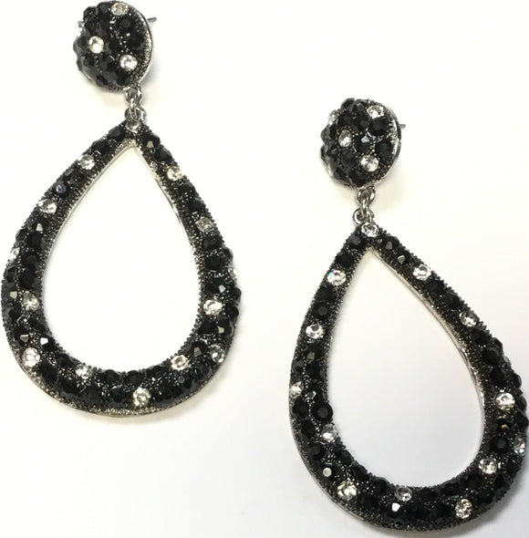 BIG METAL SILVER BLACK CLEAR DANGLING EARRINGS ( 17555 )