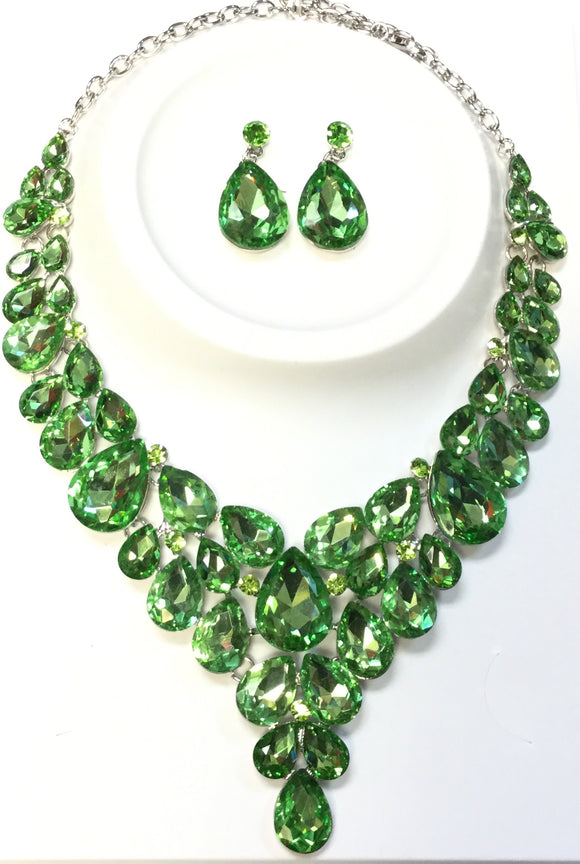 SILVER NECKLACE SET GREEN STONES ( 014266 )