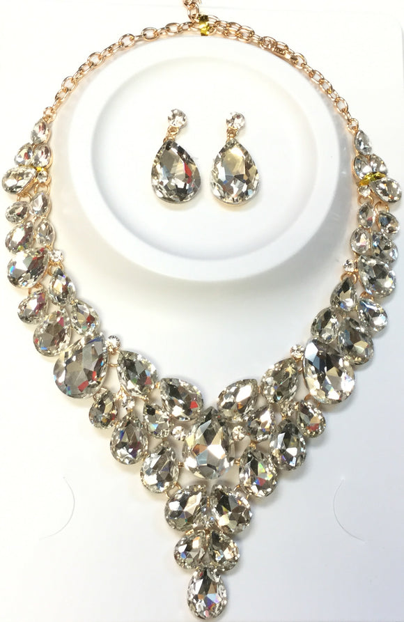 GOLD NECKLACE SET CLEAR STONES ( 014266 )