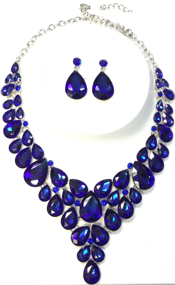 SILVER NECKLACE SET BLUE STONES ( 014266 )