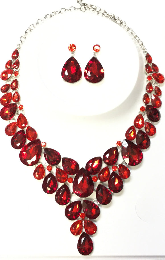 SILVER NECKLACE SET RED STONES ( 014266 )