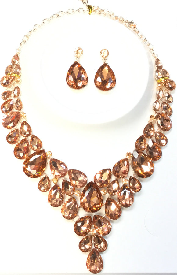 ROSE GOLD NECKLACE SET PEACH STONES ( 014266 )