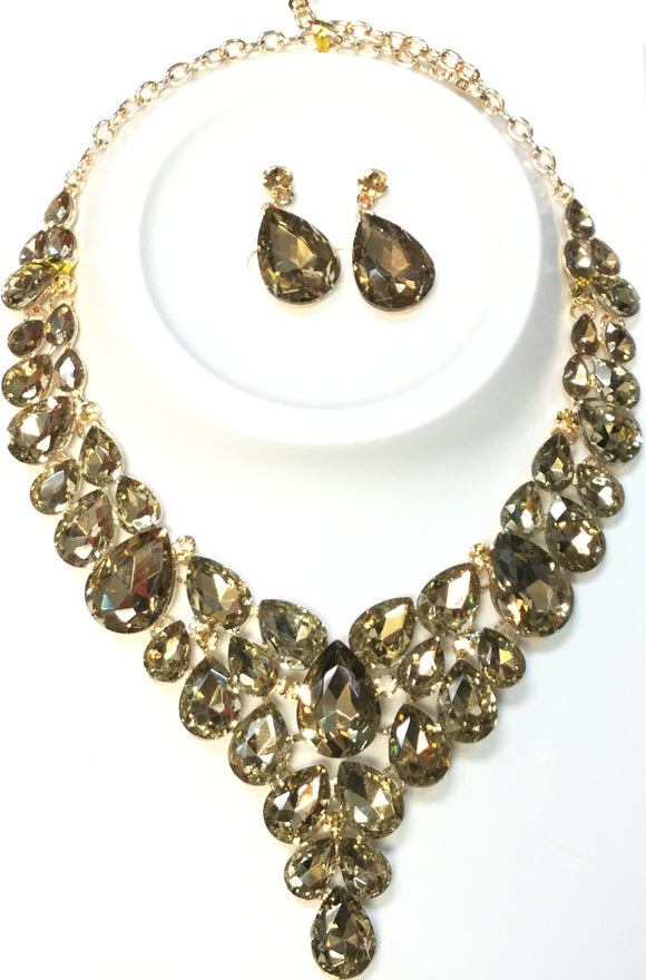GOLD NECKLACE SET TOPAZ STONES ( 014266 )