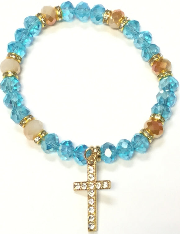 BLUE CRYSTAL STRETCH BRACELET GOLD CROSS CLEAR STONES ( 4001 )