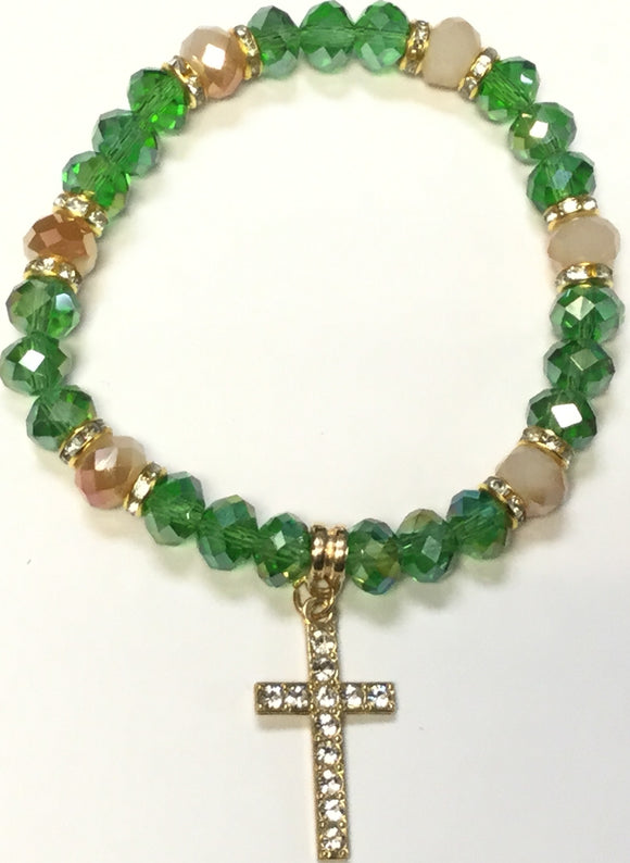 GREEN CRYSTAL STRETCH BRACELET GOLD CROSS CLEAR STONES ( 4001 )