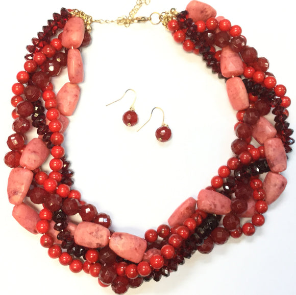 GOLD RED BEAD AND STONE NECKLACE SET ( 1169 )
