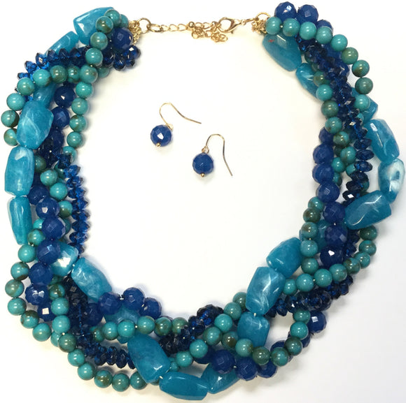 GOLD BLUE BEAD AND STONE NECKLACE SET ( 1169 )