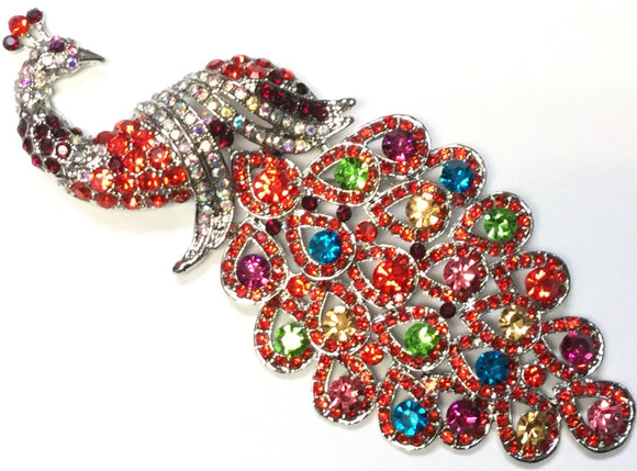 SILVER RED MULTI COLOR PEACOCK BROOCH ( 0660 REDMT )