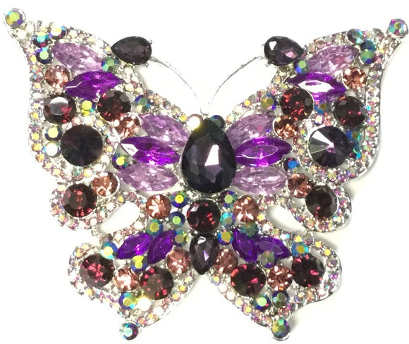 SILVER BUTTERFLY BROOCH WITH PURPLE AND AB STONES ( 06536 )