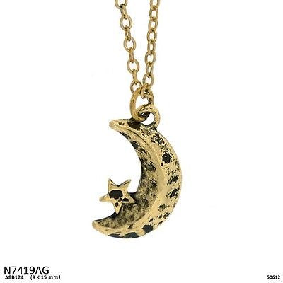 Burnish Gold Moon Charm Necklace