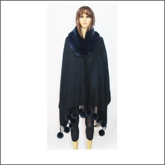 BLUE WINTER FUR PONCHO ( 04 )
