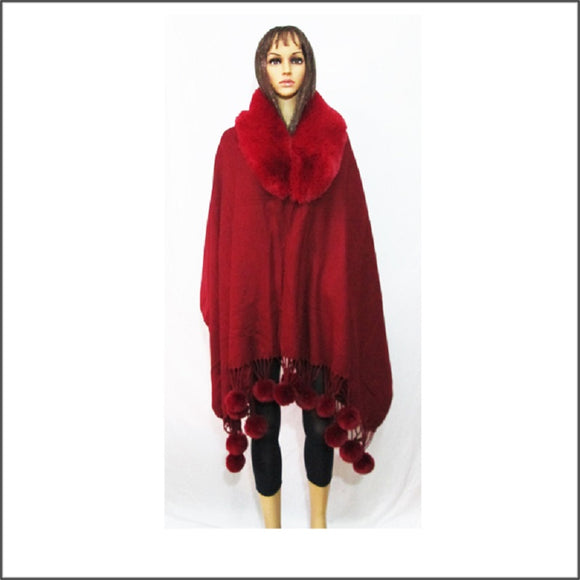 BURGUNDY WINTER FUR PONCHO ( 04 )