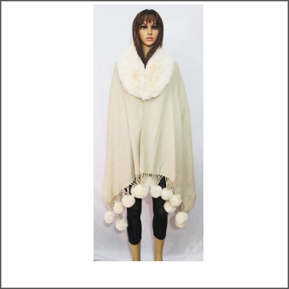 IVORY WINTER FUR PONCHO ( 04 )