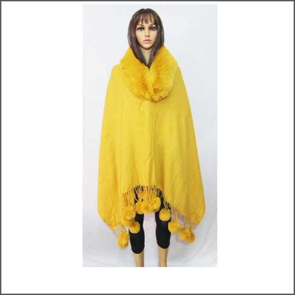 MUSTARD WINTER FUR PONCHO ( 04 )