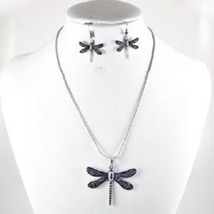 Burnish Silver Dragonfly Pendant Necklace with Matching Dangling Earrings