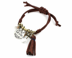 "Brown Leather Adjustable Bracelet with Silver ""love"" Charm ( 0636 )"