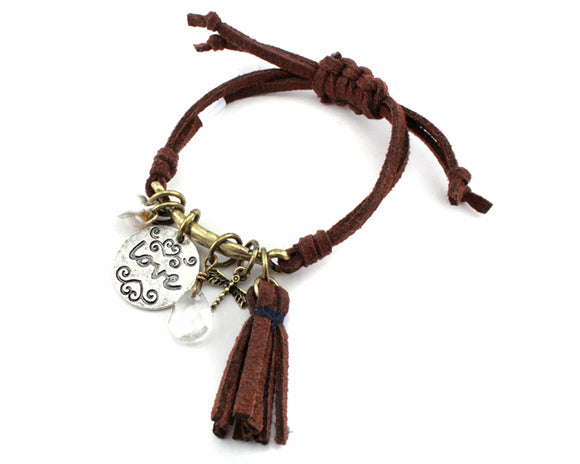 Brown Leather Adjustable Bracelet with Silver