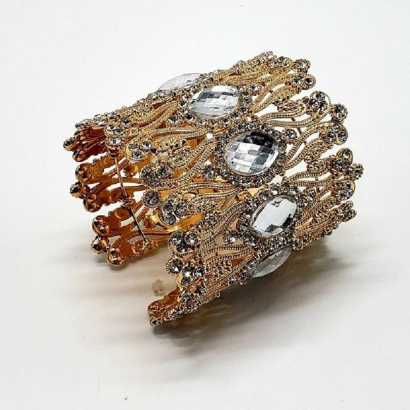 GOLD CUFF BRACELET CLEAR STONES ( 10006 )