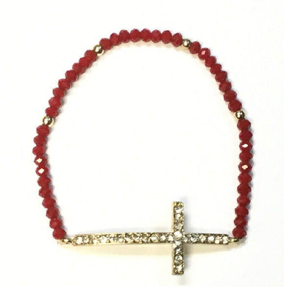 RED CRYSTAL BEADED STRETCH BRACELET WITH GOLD RHINESTONE CROSS ( 3839 )