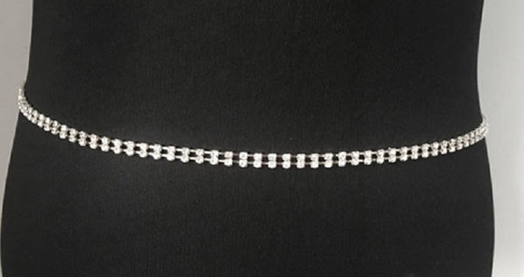 SILVER CHAIN BELT 2 LINE CLEAR STONES ( 002 )