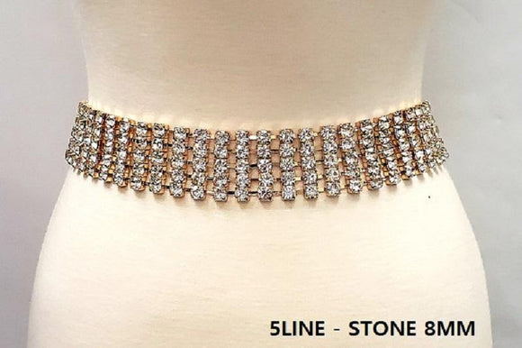5 Line GOLD Clear Rhinestone Fashion Belt ( 1326 G )