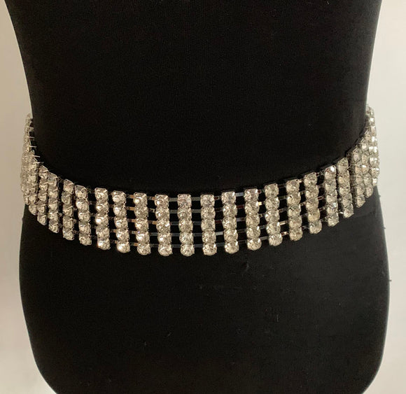 5 Line Silver Clear Rhinestone Fashion Belt ( 1326 )
