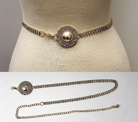 GOLD CHAIN BELT CLEAR STONES CREAM PEARL ( 1636 )