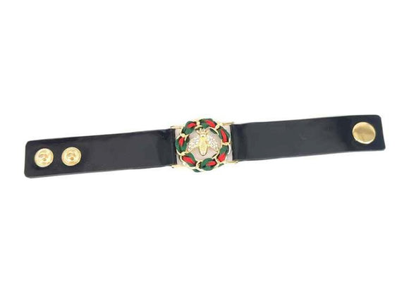 BLACK SNAP BRACELET GREEN RED RIBBON GOLD AND BEE DETAILS ( 2106 GDMT )
