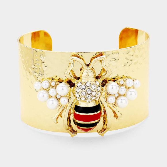 Gold Metal Cuff with Gold, Red, and Black Bee with Pearls Bracelet ( 1075 )