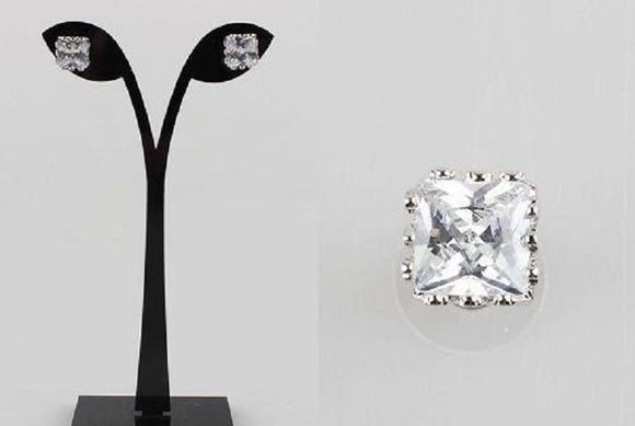 10mm SILVER CLEAR CZ CUBIC ZIRCONIA BASKET SETTING SQUARE STUD EARRINGS ( 140803 )