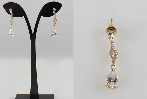Gold Clear CZ Teardrop Chandelier Earrings