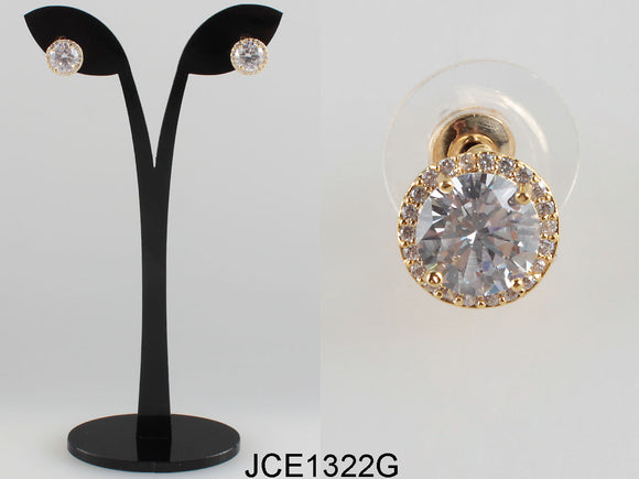 GOLD CUBIC ZIRCONIA STUD EARRINGS ( 1322 )